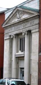 facade of a former bank building