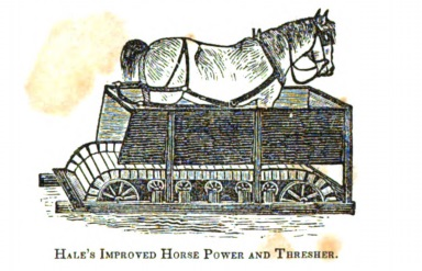 Engraving of a horse walking on a treadmill within a wooden stall.