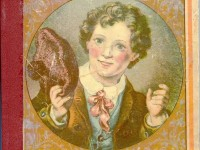 Cover of the 1886 Chatterbox book showing an illustration of a boy holding a knit hat in his hand.