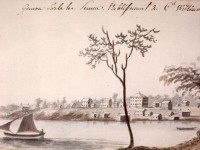 Watercolor painting showing a lakeshore with a couple dozen one to two-storey buildings along the shore and a sailboat and canoe on the water.