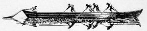 Drawing of five men poling and steering a long, shallow boat.