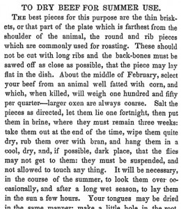 Newspaper text on how to dry beef for summer use.