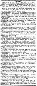 A obituary list of 19 people, mostly children, who died of diphtheria in Geneva during the last week of November 1878.