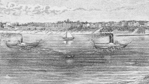 drawing-of-two-steamboats-and-a-sailboat-on-lake