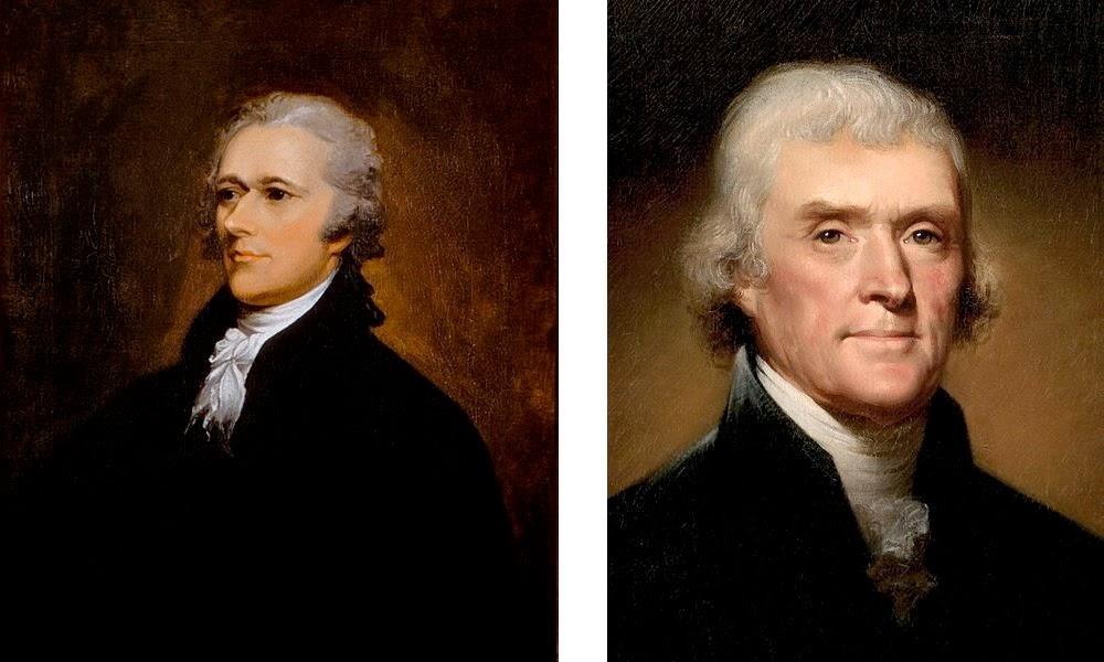 Images of Alexander Hamilton and Thomas Jefferson