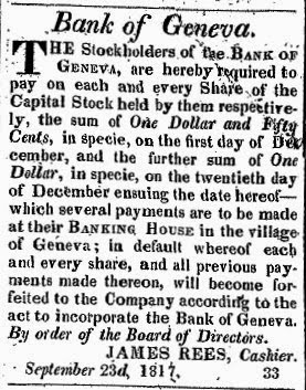 Notice from 1817 newspaper requesting payment on Bank of Geneva shares.