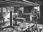 The inside of a print shop with a printing press, cabinet of type and a man examining a paper, newspapers on the floor and hanging on the wall.