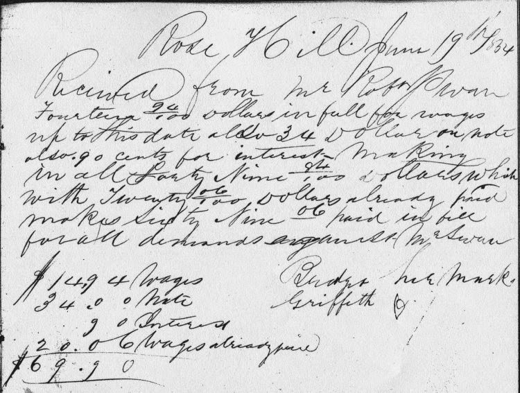 The receipt of $69.90 in wages paid to Bridget Griffin on June 19, 1854 by Robert Swan. Signed with her mark.