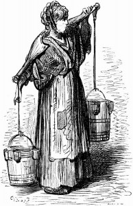 Illustration of a woman in patched clothing carrying a yoke with two buckets hanging from it on her shoulders.