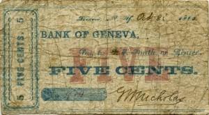 Bank of Geneva bill worth 5 cents dated October 8, 1862