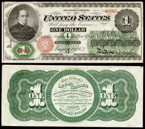 Front and back of $1 1862 greenback engraved with a man's portrait on the front, the sigil of the treasury, and two signatures. The back has a notice that is is legal tender.