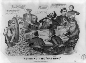 Political cartoon of men sitting around a table while one cranks bills out of a wheel.