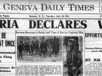 Newspaper front page with headline Austria Declares War! Belgrade will be occupied at once. Efforts for Peace were in Vain.