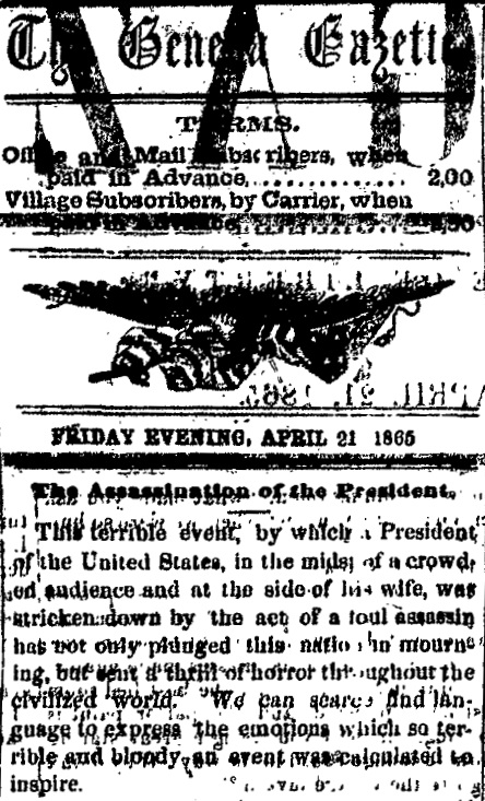 clip-of-1865-newspaper-article-on-Lincoln-assassination