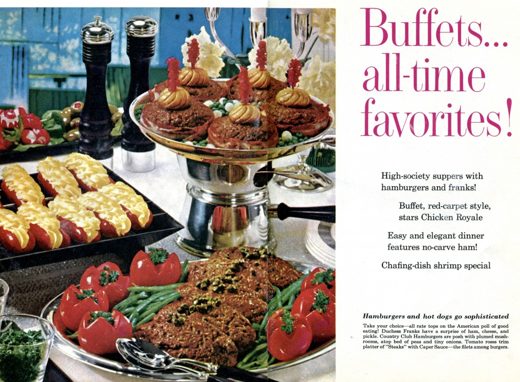 buffet-with-luridly-colored-stuffed-hotdogs-and-hamburgers