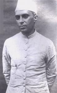 Black and white photograph of Jawaharlal Nehru
