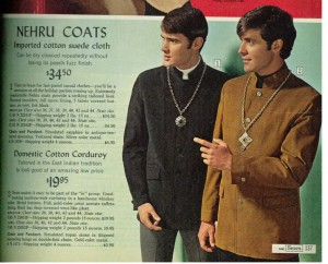 Colored image of Nehru jackets from the 1968 Sears catalog
