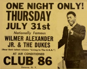 Flyer for Wilmer and the Dukes concert at Club 86