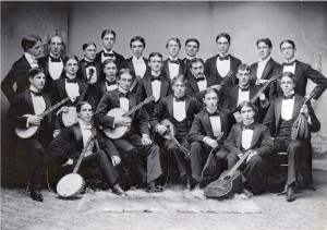 Black and white image of the 1893 Hobart College Banjo & Glee Club. Members are in formal dress.