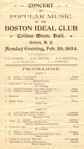 Program from the performance of the Boston Ideal Club at Collins Music Hall on February 26, 1894