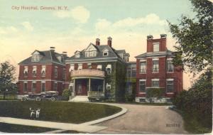 Postcard of the original Geneva Hospital