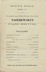Program from Ignancy Paderewski performance at Dove Hall in 1893