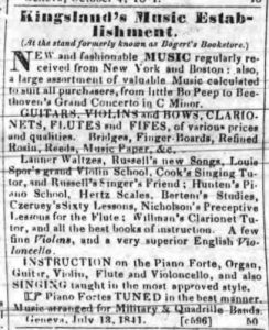 Newspaper ad for Kingsland's Music Establishment, July 13, 1841
