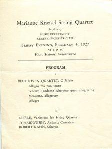 program for the Marianne Kneisel String Quartet