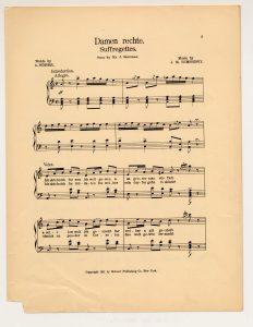 "sheet music for the Yiddish song, ""Damen Rechte (Suffregettes)."""