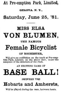 newspaper ad for a bicycling exhibition by Elsa Von Blumen
