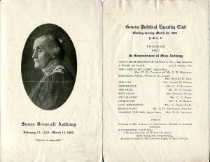 Geneva Political Equlaity Club's memorial program for Susan B. Anthony