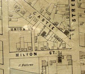 Map showing properties on Milton, Union, Castle Streets.