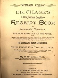 Title page to Dr. Chase's Third, Last and Complete Receipt Book and Household Physician