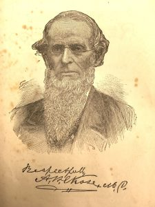 """sketch of a man with glasses and a beard signed """"respectfully A.W. Chase MD"""