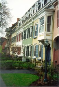 various colored row houses
