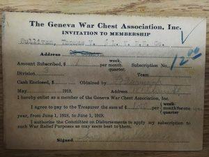Geneva War Chest Association membership card