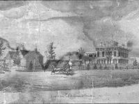 Engraving of a street view of a house and outbuildings.
