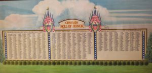 sketch of honor roll listing the men and women from Geneva that served in World War i