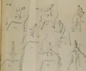 Pencil drawings of various gymnastic routines