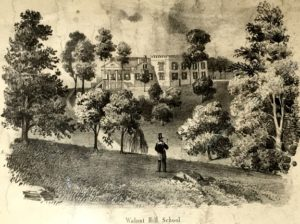 lithograph of a school building in a field