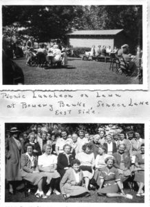 page from a scrapbook. Top image has women sitting around tables outside. Bottom image is a group photo of women.