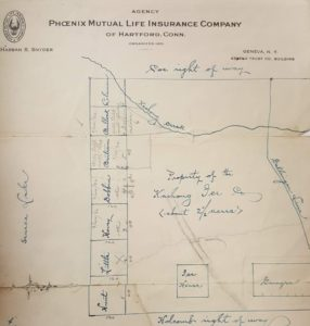 hand drawn map with property owners listed