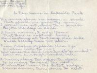 """Handwritten version of Edwin Becker's poem Edwin's poem """"A Few Hours in Lake Side Park.:"""""""