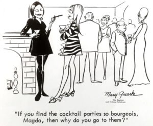 drawing of people standing at a party