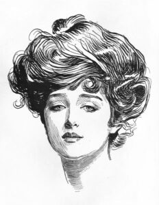 Iconic image of the Gibson girl at the turn of the 20th century.