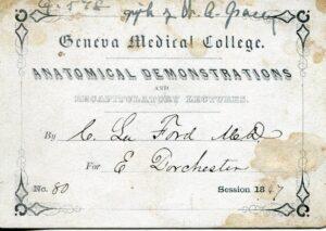 Geneva Medical College admission ticket