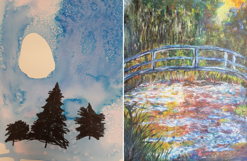 Painting of 3 pine trees in the sun and an impressionistic painting of bridge over water.