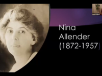 A Zoom screenshot showing a headshot of a white woman and the words Nina Allender, 1872-1957.