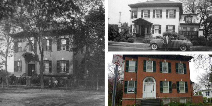 same multi-story building in 1867, 1949 and 2020