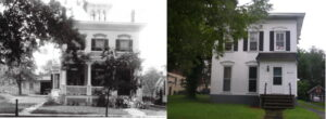 Side by side photos of the same house. One in black and white with a porch and people in front of it and one in color.